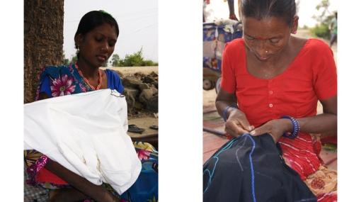 Laxmi og Maya syr t-shirts
