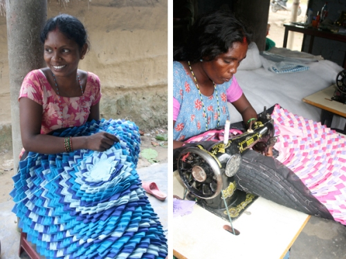 Saraswoti og Sabitri med de fantastiske chokati-tæpper